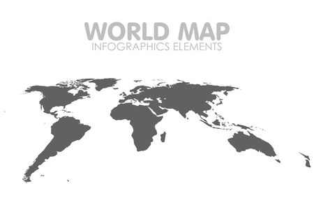 Grey Political World Map isolated Illustration.