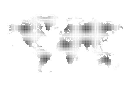 illustrated globes: Grey Political World Map isolated Illustration.