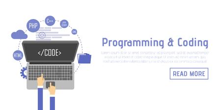debugging: Programmer at computer desk working on program. Software concept.