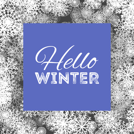 Hello winter abstract background design with snowflakes and snow.