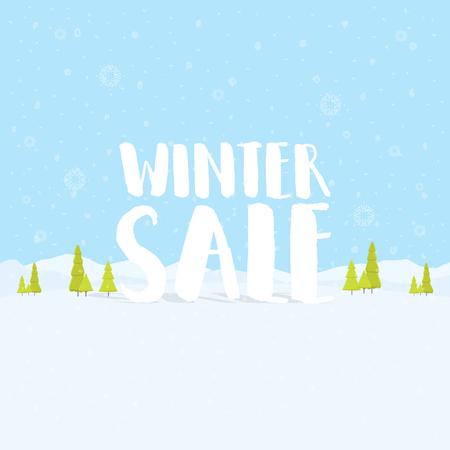 フラットの美しいクリスマスの冬セールの言葉冬の休日風景、木、雪の結晶、雪が降ると背景です。ベクトル図