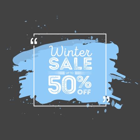 grunge banner: Winter sale banner. Brush grunge texture bacground. Vector illustration.
