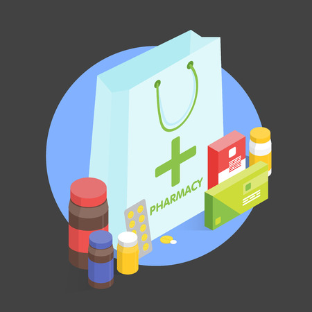 medications: Modern interior pharmacy and drugstore. Sale of vitamins and medications. Vector simple illustration. Sale and discount template. Set of pills and drugs.