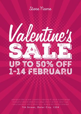 corazon: Valentines Day Sale Vintage comics retro Background With Hearts. Vector illustration Illustration