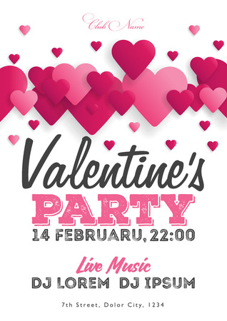 Valentines Day party invitation flyer. The template for the club, musical evenings. Speech by musicians, DJs. Night festive party. Background with hearts. Vector illustrations.