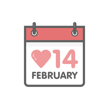 14: Vector calendar icon 14 February Valentines Day. Illustration