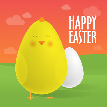 Greeting Card, Happy Easter. Egg and cute chick. Realistic vector illustrations