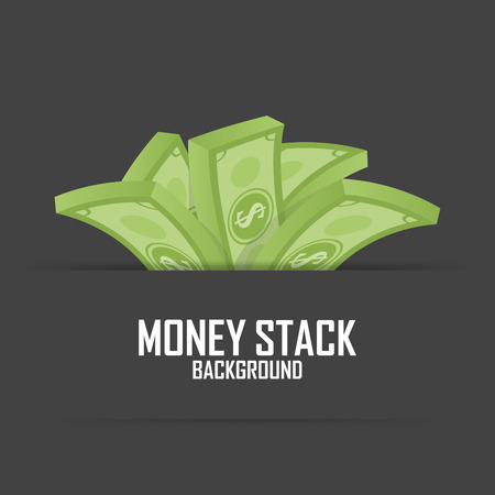 stack of cash: Piles of money stack, cash dollar on white, vector illustration.