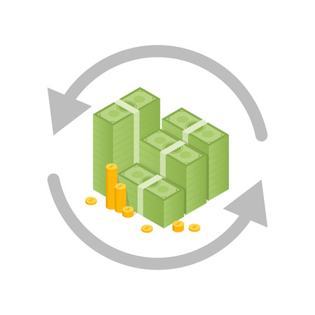Money exchange and conversion concept. Vector illustration.