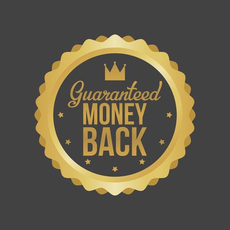 Vector Money Back Guarantee Gold Sign, Label. Иллюстрация