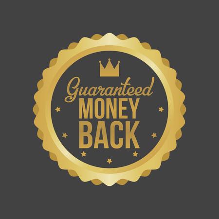 Vector Money Back Guarantee Gold Sign, Label. Vettoriali