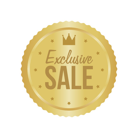 rounding: Vector Exclusive Sale Gold Sign, Round Label.