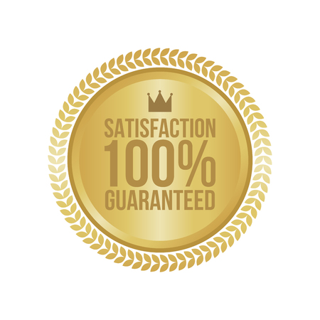satisfaction: Vector Satisfaction Guaranteed Gold Sign, Round Label.