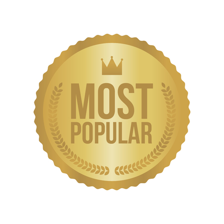 most popular: Vector Most Popular Gold Sign, Round Label.