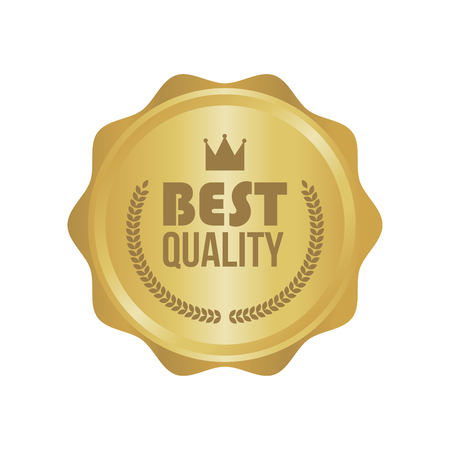best quality: Vector Best Quality Gold Sign, Round Label.