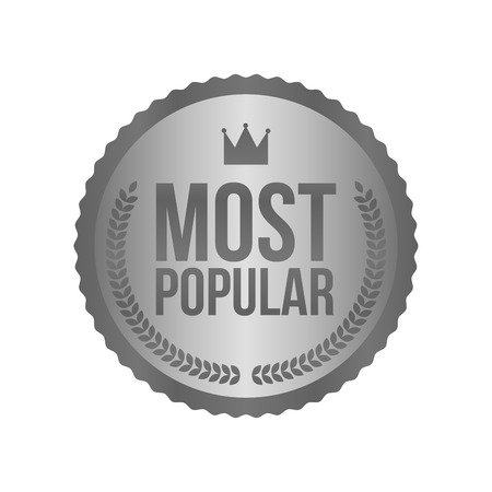 most popular: Vector Most Popular Silver Sign, Round Label