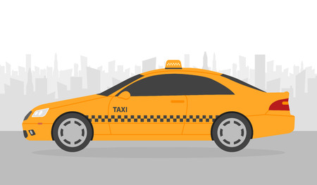 Yellow taxi car in front of city silhouette, vector illustration in simple flat design.