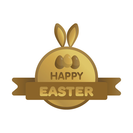 Easter gold label with ribbon. Bunny concept vector illustration.