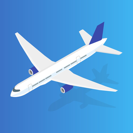 Large passenger Airplane 3d isometric illustration. Flat high quality transport. Vector. Illustration
