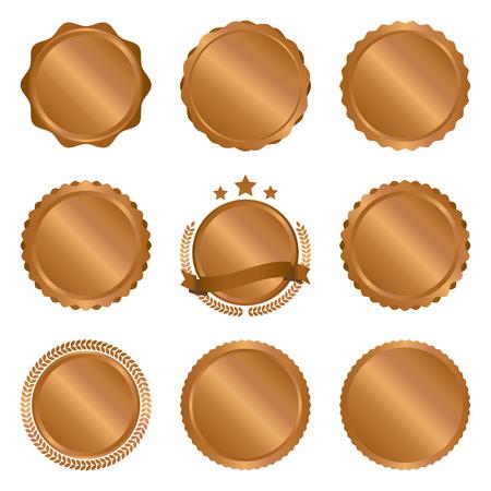 Collection of modern, bronze circle metal badges, labels and design elements. Vector illustration.