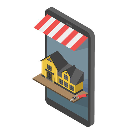 rent: Real estate online searching isometric flat vector concept. For Sale or Rent Showcases phone