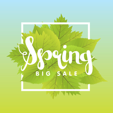 Spring Sale Poster With Green Leaf. Vector banner Template Illustration. Illustration