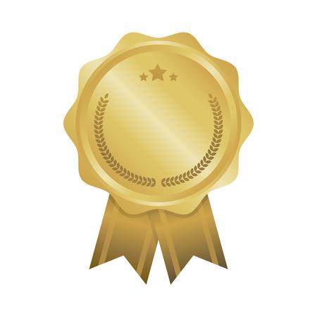 Modern gold circle metal badge, label and design elements. Vector illustration.
