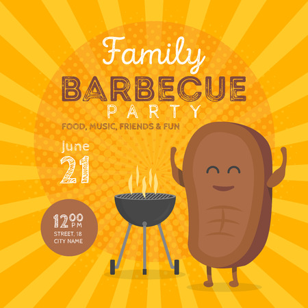 royality: Family BBQ Party Invitation Template. Cute Steak Character Barbecue Time. Retro Background Vector Illustration.