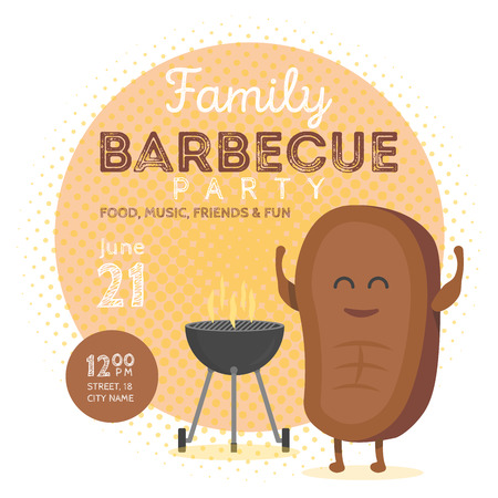 frankfurter: Family BBQ Party Invitation Template. Cute Steak Character Barbecue Time. Retro Background Vector Illustration.