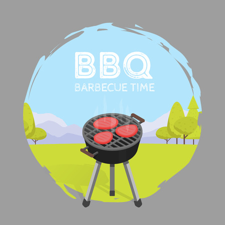 Barbecue BBQ Time Vintage Graphic Vector Illustration.