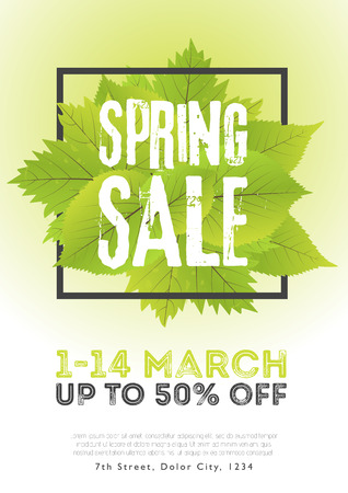 Spring sale poster template with leaves and frame in green white background. Vector illustration.