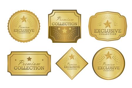 exclusive collection: Exclusive collection sale golden badge set. Gold label vector illustration.