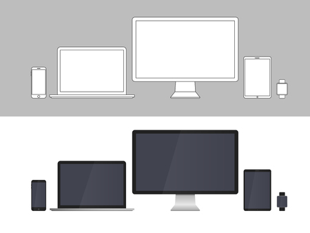 electronic devices: Electronic Devices Screens isolated on white background.