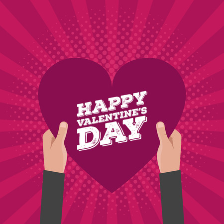 hold hands: Happy Valentines Day Lettering Card Hold Hands Vector Design.