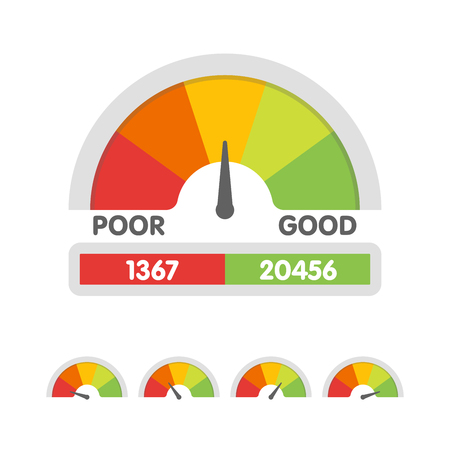 Vector illustration of credit score gauge. Speedometer icon in flat style. Performance Meter. Иллюстрация