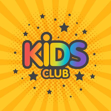 Kids club letter sign poster vector illustration.