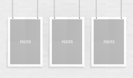 Empty three white A4 sized vector paper mockup hanging with paper clips. Show your flyers, brochures, headlines etc with this highly detailed realistic design template element.