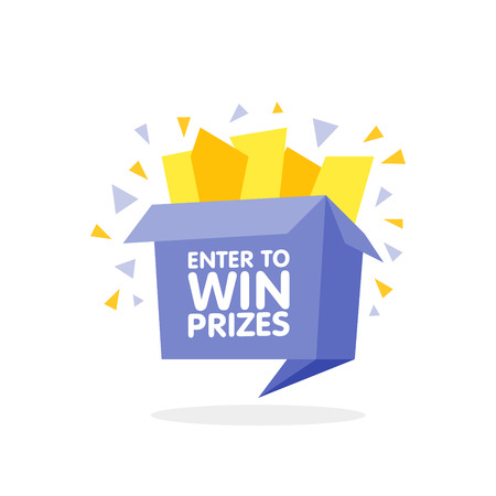 enter: Enter to win prizes gift box. Cartoon origami style vector illustration.