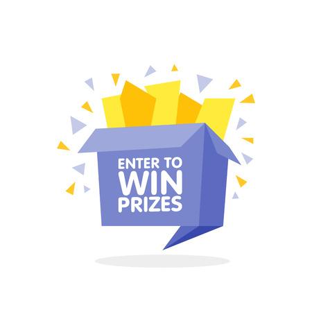 Participa para ganar premios caja de regalo. Origami de dibujos animados ilustración vectorial estilo. Ilustración de vector