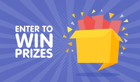 Enter to win prizes gift box. Cartoon origami style vector illustration. Stok Fotoğraf - 71509787