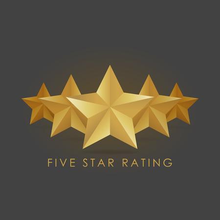Five golden rating star vector illustration in gray black background. Stock Illustratie