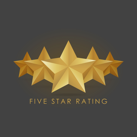 Five golden rating star vector illustration in gray black background.