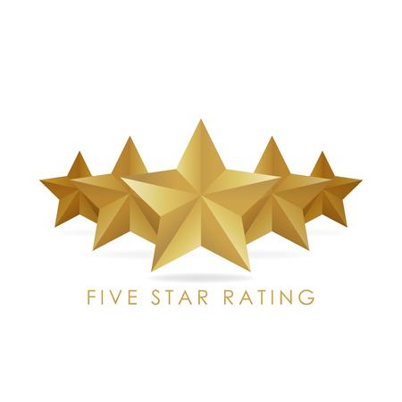 Five golden rating star vector illustration in white background. Stock Illustratie