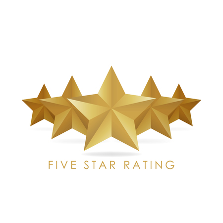 Five golden rating star vector illustration in white background. Иллюстрация