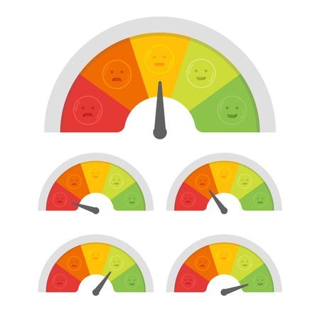 Customer satisfaction meter with different emotions. Vector illustration. Çizim