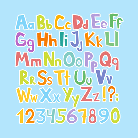 Funny comics font. Hand drawn lowcase and uppercase colorful cartoon English alphabet with lower and uppercase letters. Vector illustration.