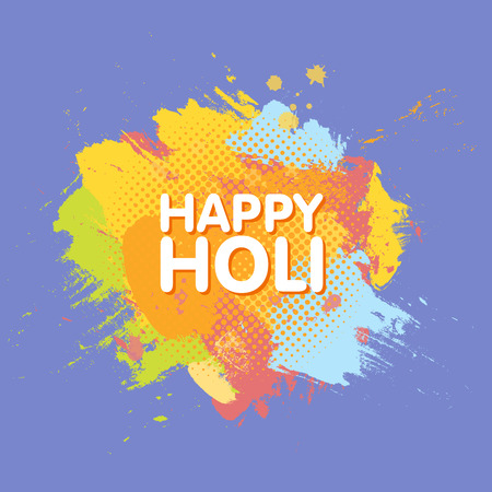 Happy Holi spring festival of colors greeting background with colorful Holi powder paint clouds and sample text. Blue, yellow, pink and orange powder paint. Vector illustration. Illustration