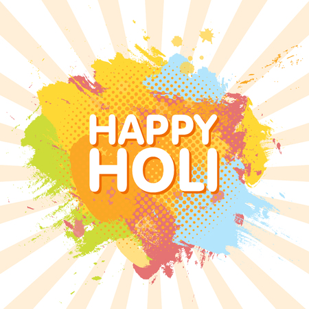 pichkari: Happy Holi spring festival of colors greeting background with colorful Holi powder paint clouds and sample text. Blue, yellow, pink and orange powder paint. Vector illustration. Illustration