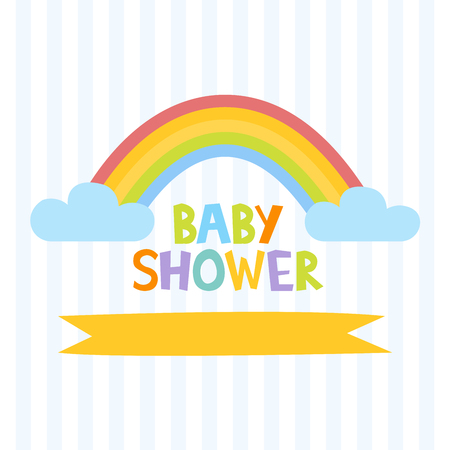 Cute baby shower invitation template with letters and rainbow. Vector illustration.