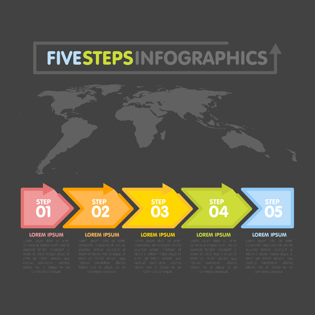 Business infographics template. Timeline with 5 arrows, steps, number options. World Map in background. Vector element.